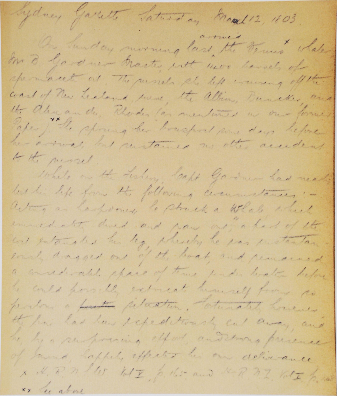 Robert McNab. Historical notes: duplicates. [190?]. (Enhanced copy).