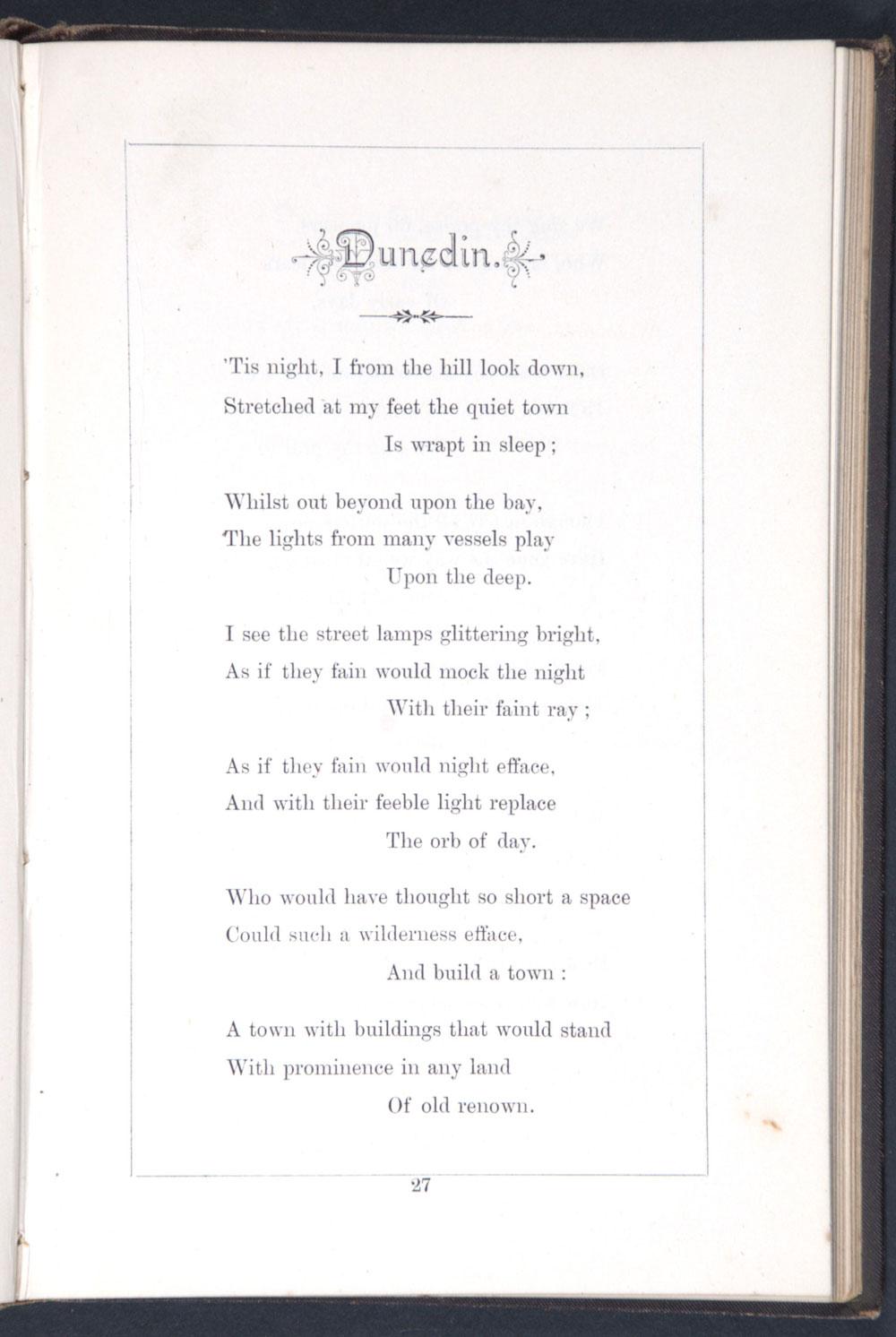 F. Felix McCarthy. <em>Poems.</em> Dunedin: Wilkie & Co, Printers, 1886.