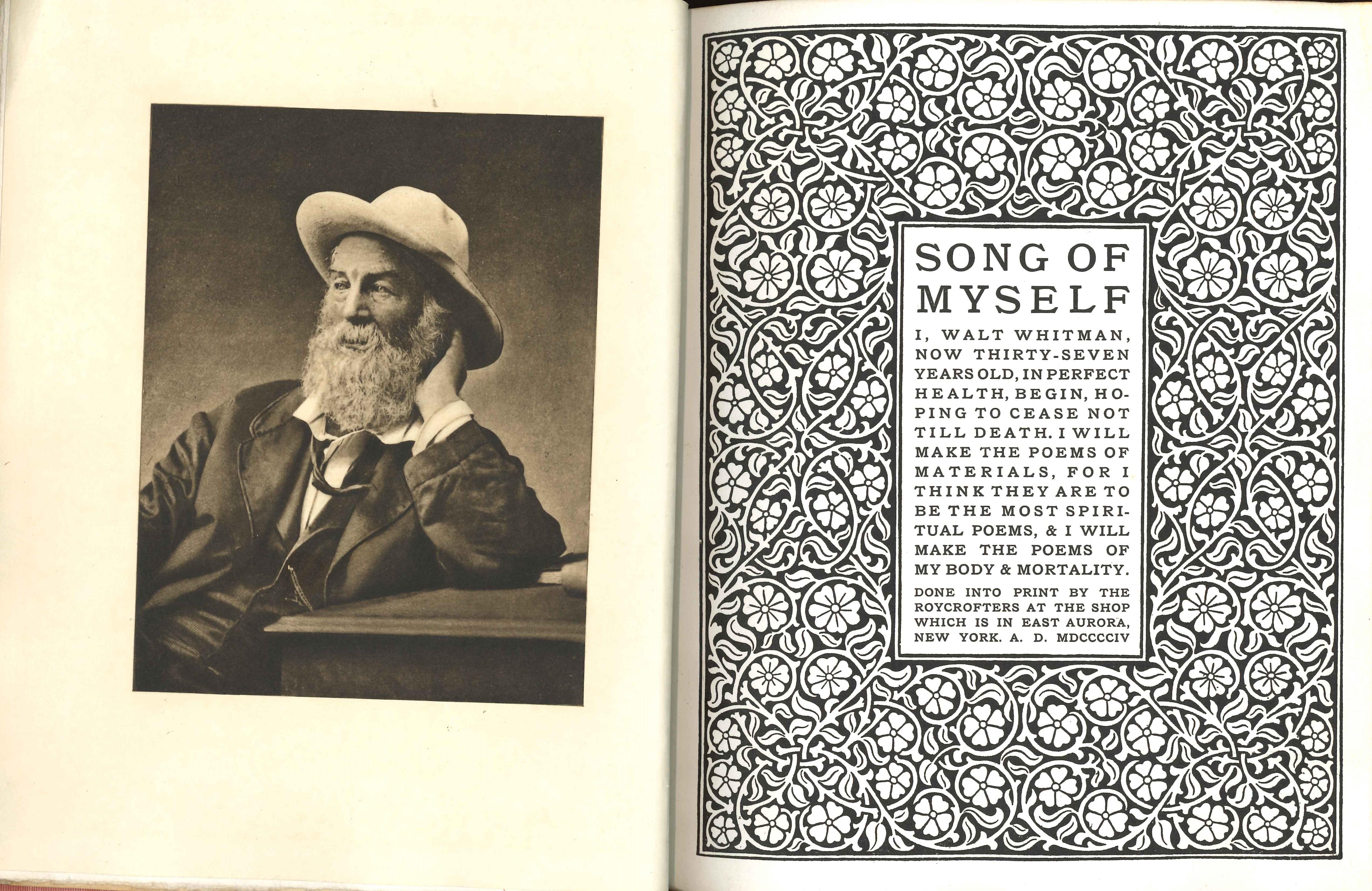 Walt Whitman. Song of Myself. East Aurora, N.Y.: Roycrofters, 1904.