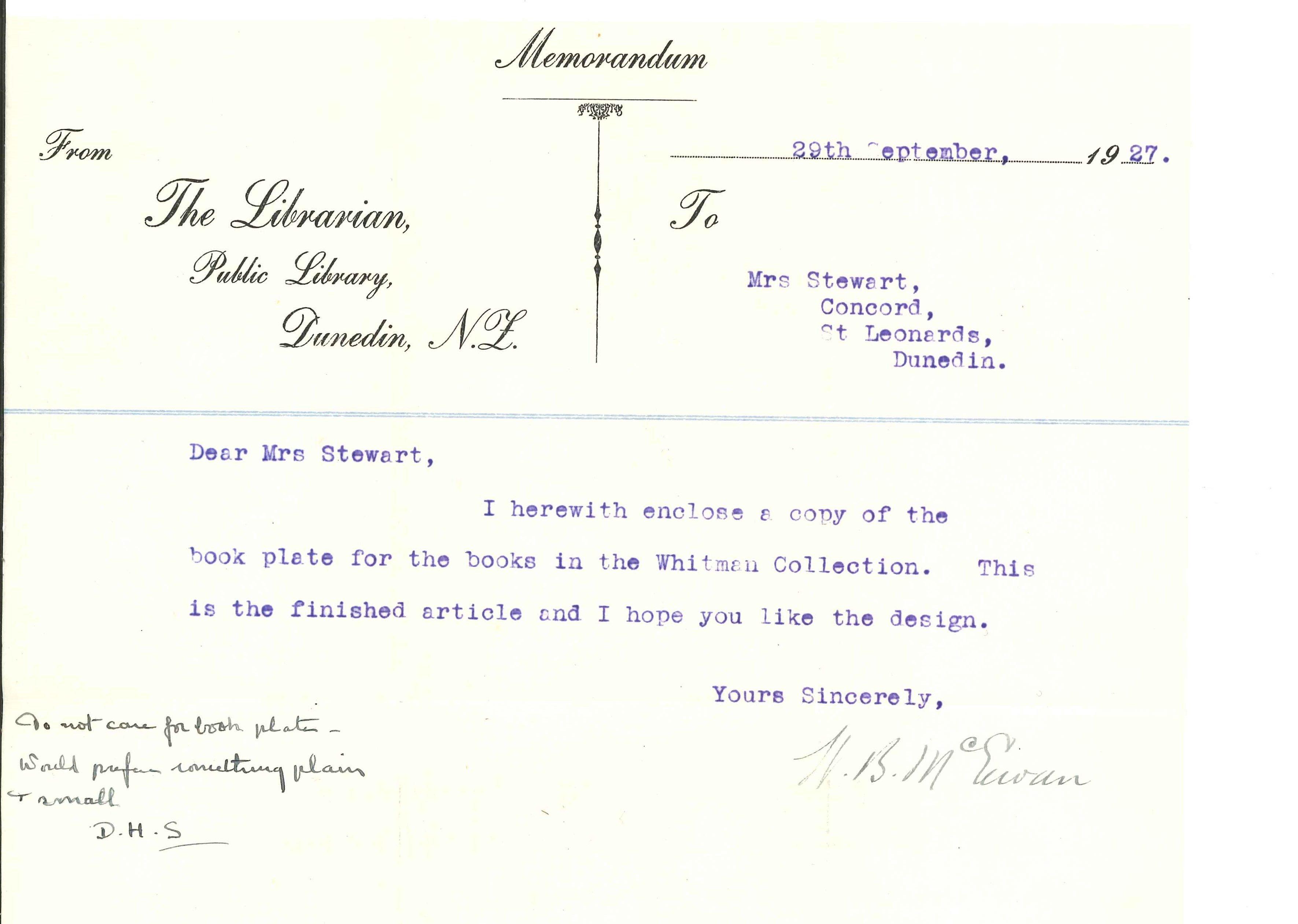 1927 memorandum from W.B. McEwen to Dorothy Trimble re Bookplate.
