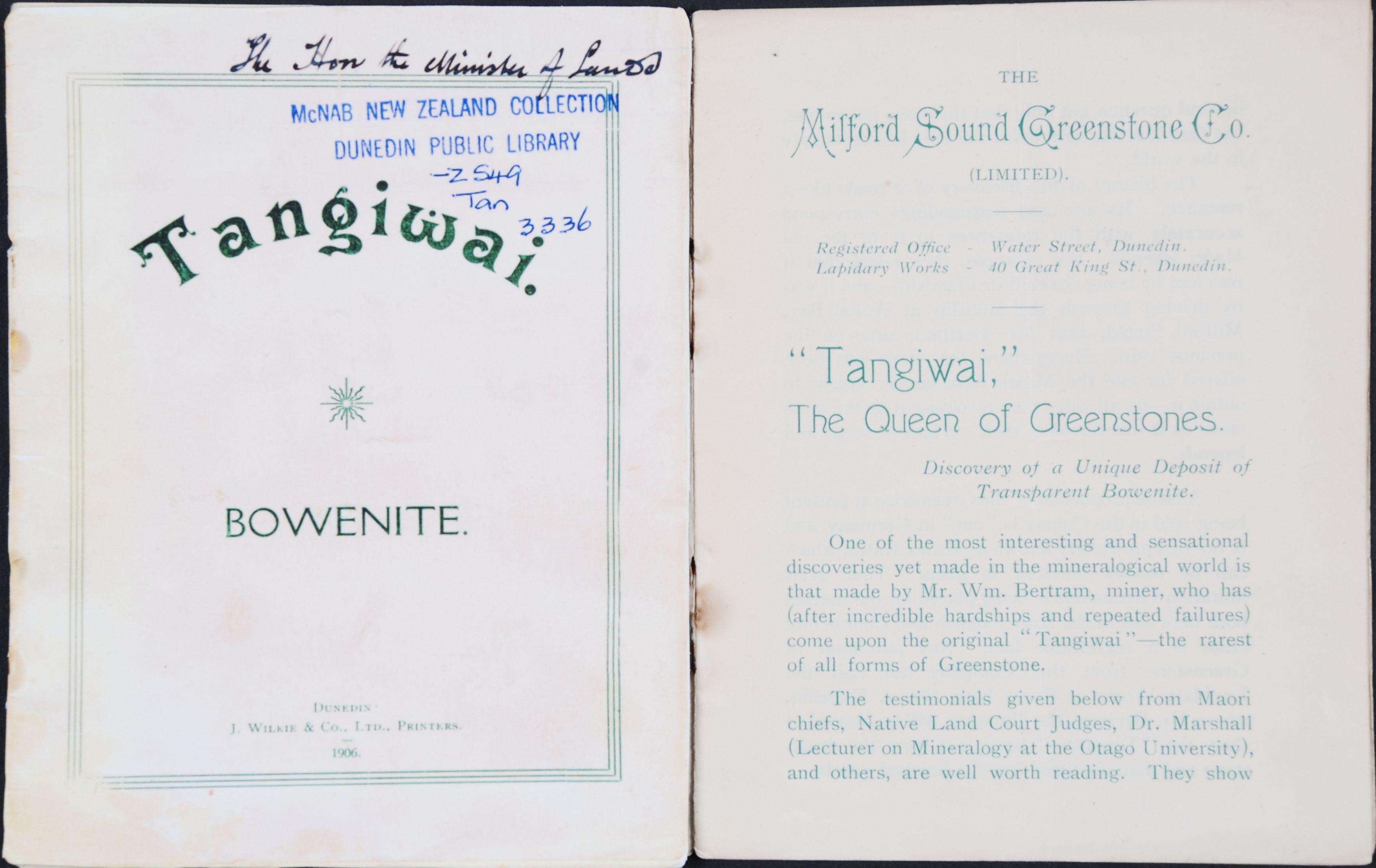Milford Sound Greenstone Co. Tangiwai: bowenite. Dunedin [N.Z.]: J. Wilkie, 1906.