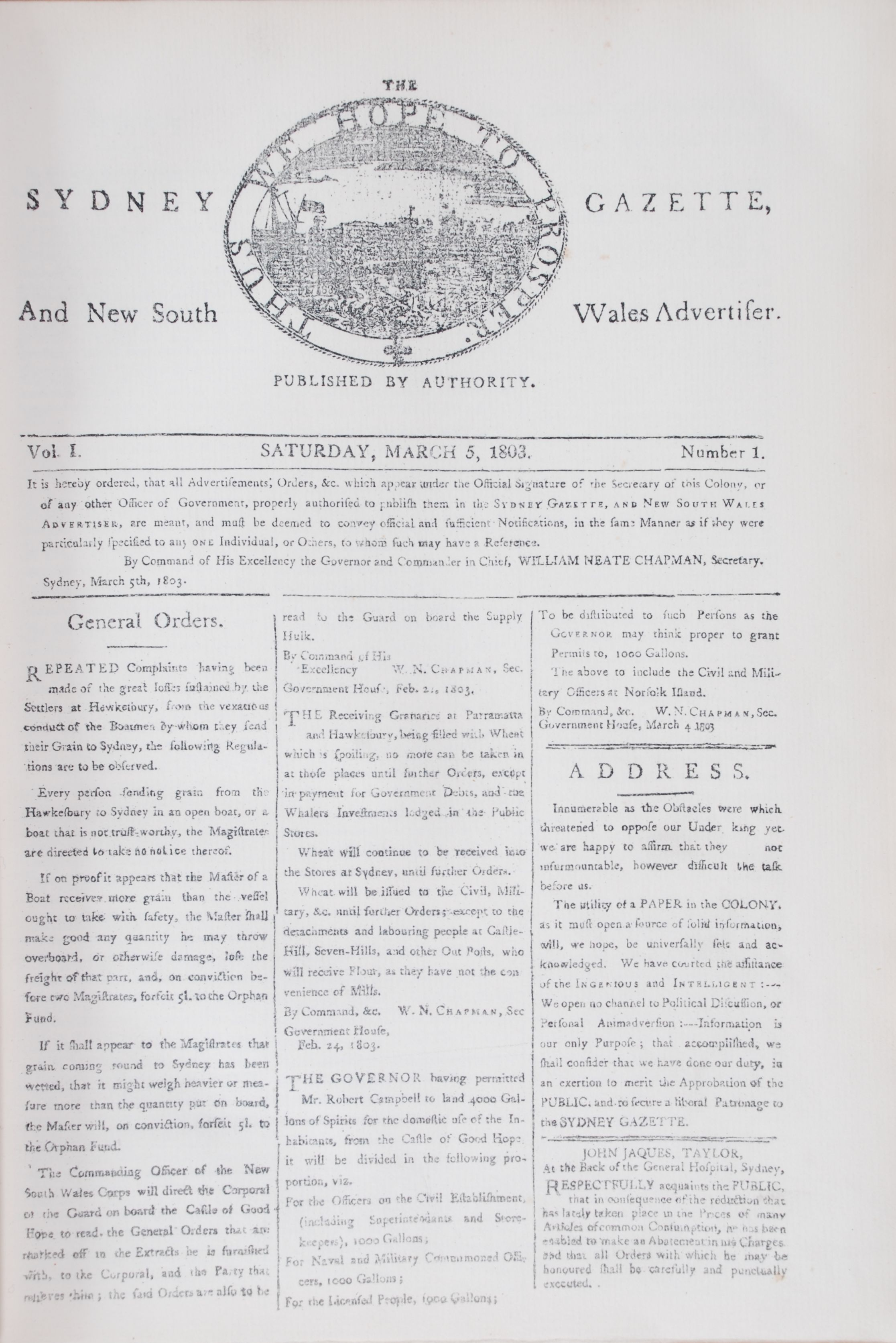 Sydney Gazette and New South Wales Advertiser. Volume 1, 25th March 1803 – 26th February 1804. Sydney: Angus & Robertson, 1899.( Facsimile).