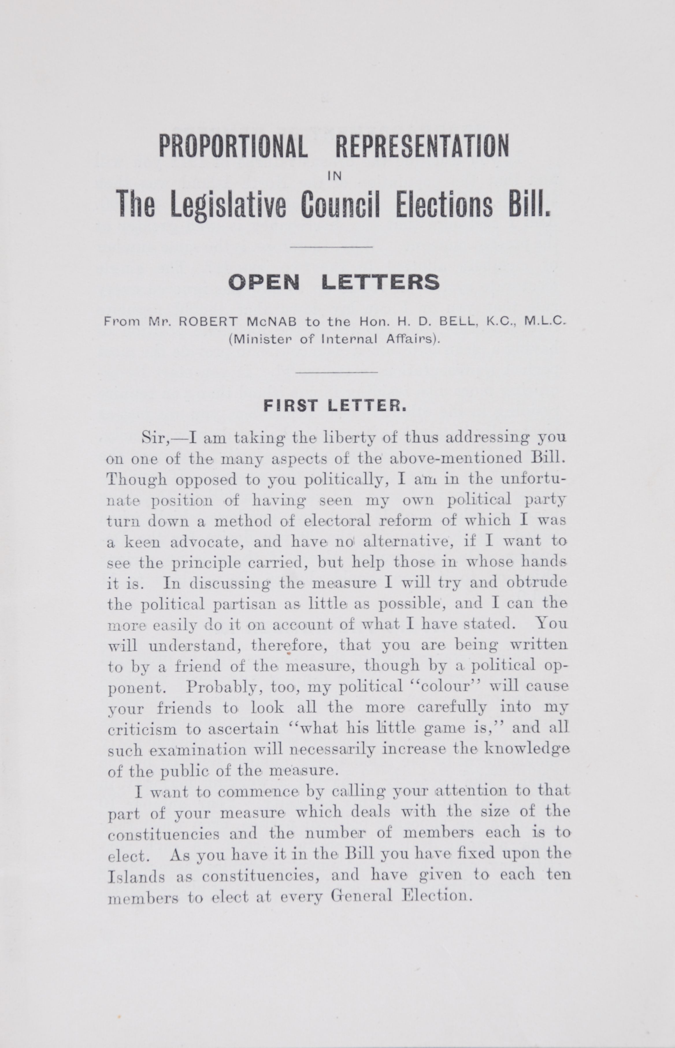 Robert McNab. Open Letters on Proportional Representation.  Wellington: Whitcombe & Tombs, Printers, 1913.