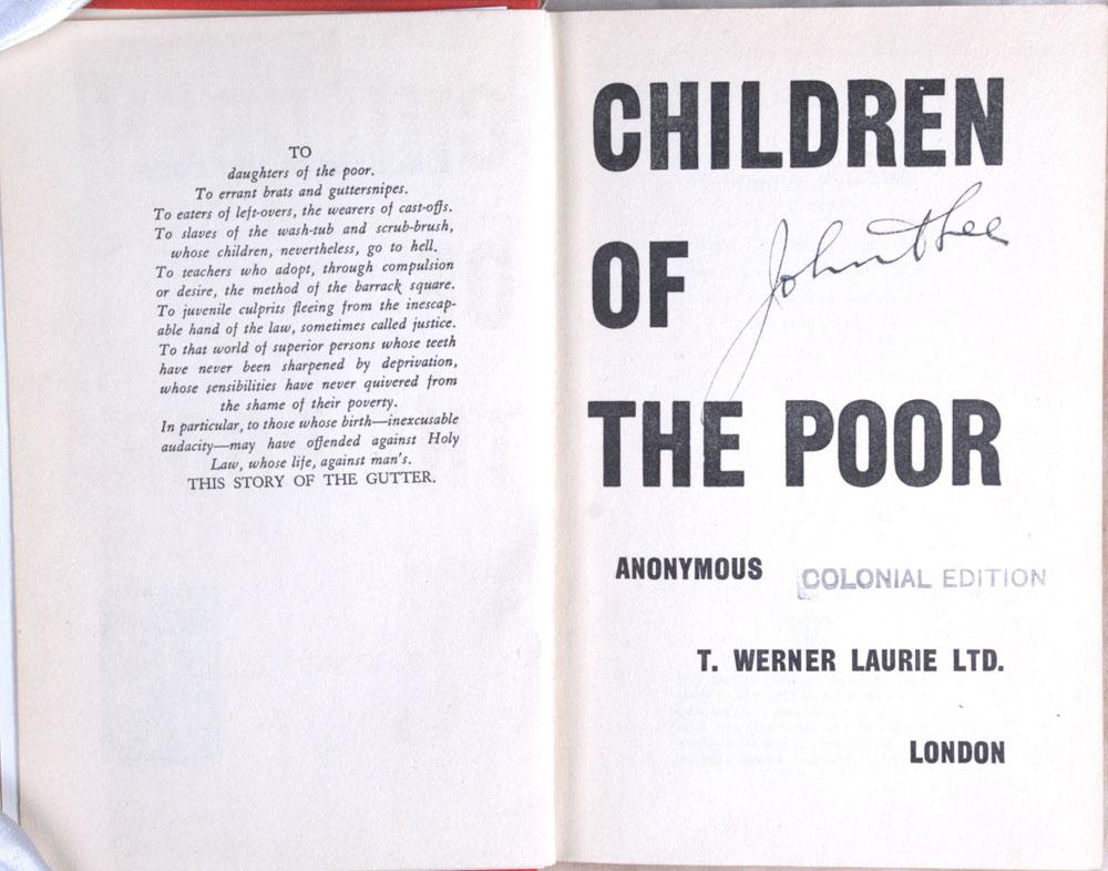 [John A. Lee]. <em>Children of the poor.</em> Colonial ed. London: T. Werner Laurie Ltd., 1934.