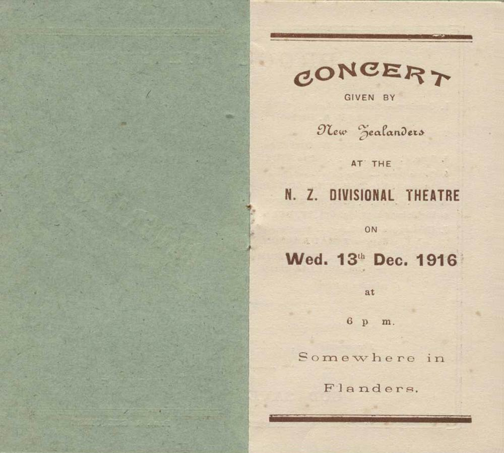 <em>Concert given by New Zealanders at the N.Z. Divisional Theatre</em>. Flanders, Dec. 13, 1916.