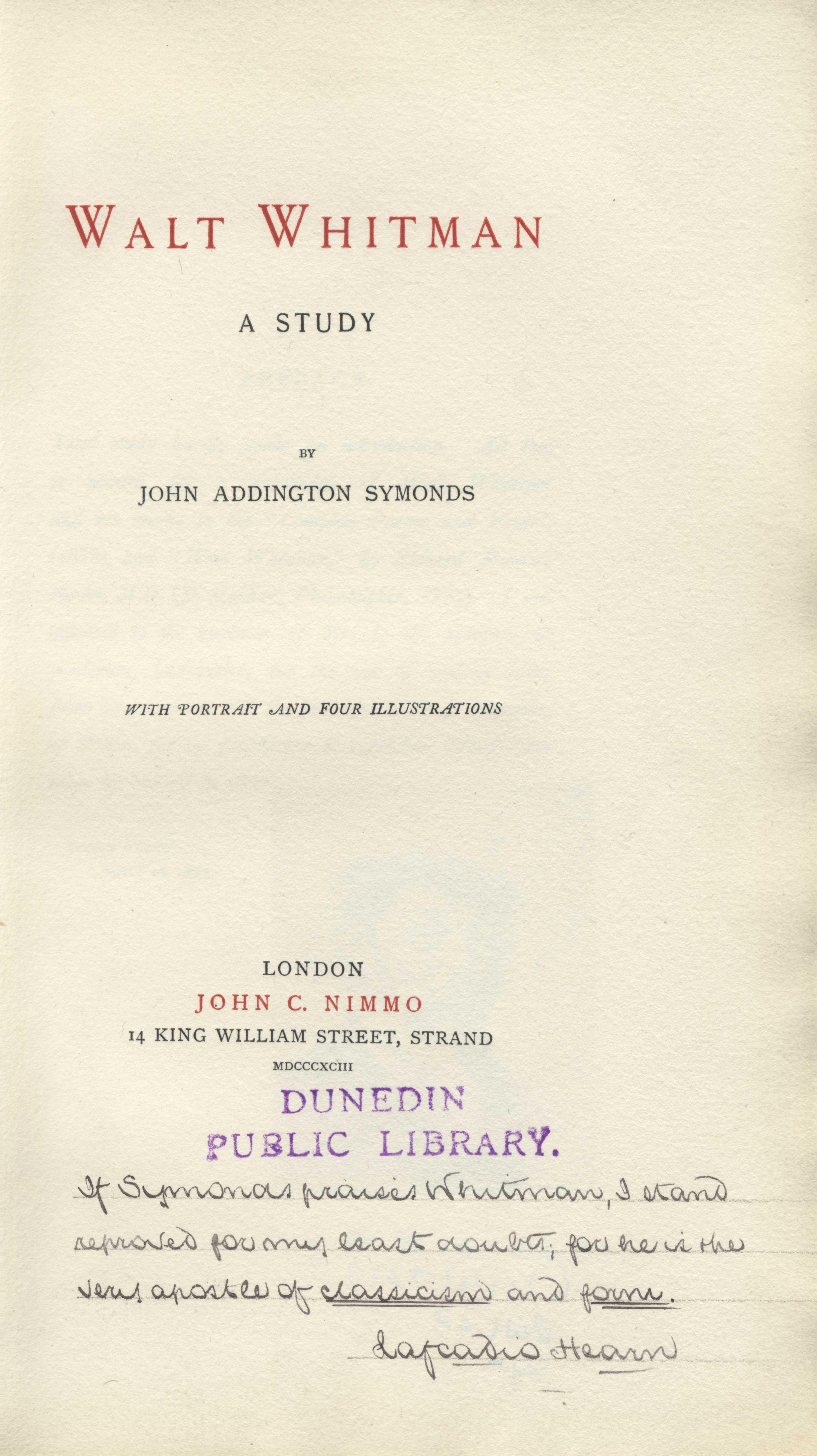 John Addington Symonds. Walt Whitman, A Study. London: John C. Nimmo, 1893.