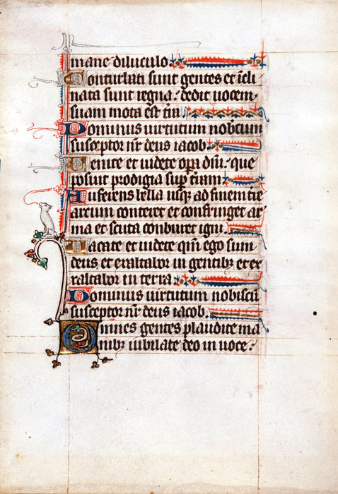 Single leaf from a Psalter, in Latin. France or Flanders, late-thirteenth or fourteenth century. Reed MSF38
