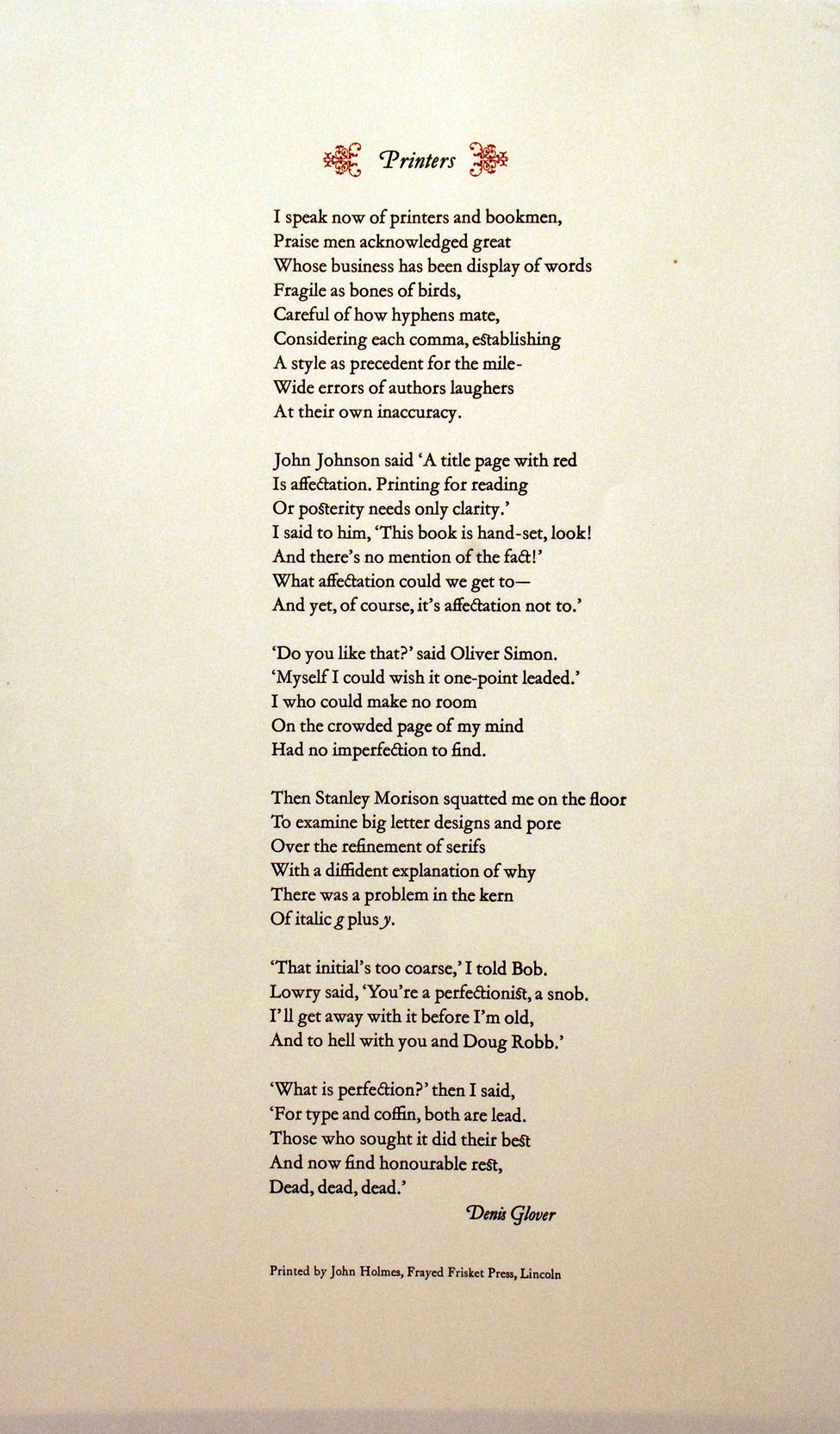 The Poem 'Printers' by Denis Glover, printed by John Holmes, Frayed Frisket Press, Lincoln, New Zealand.