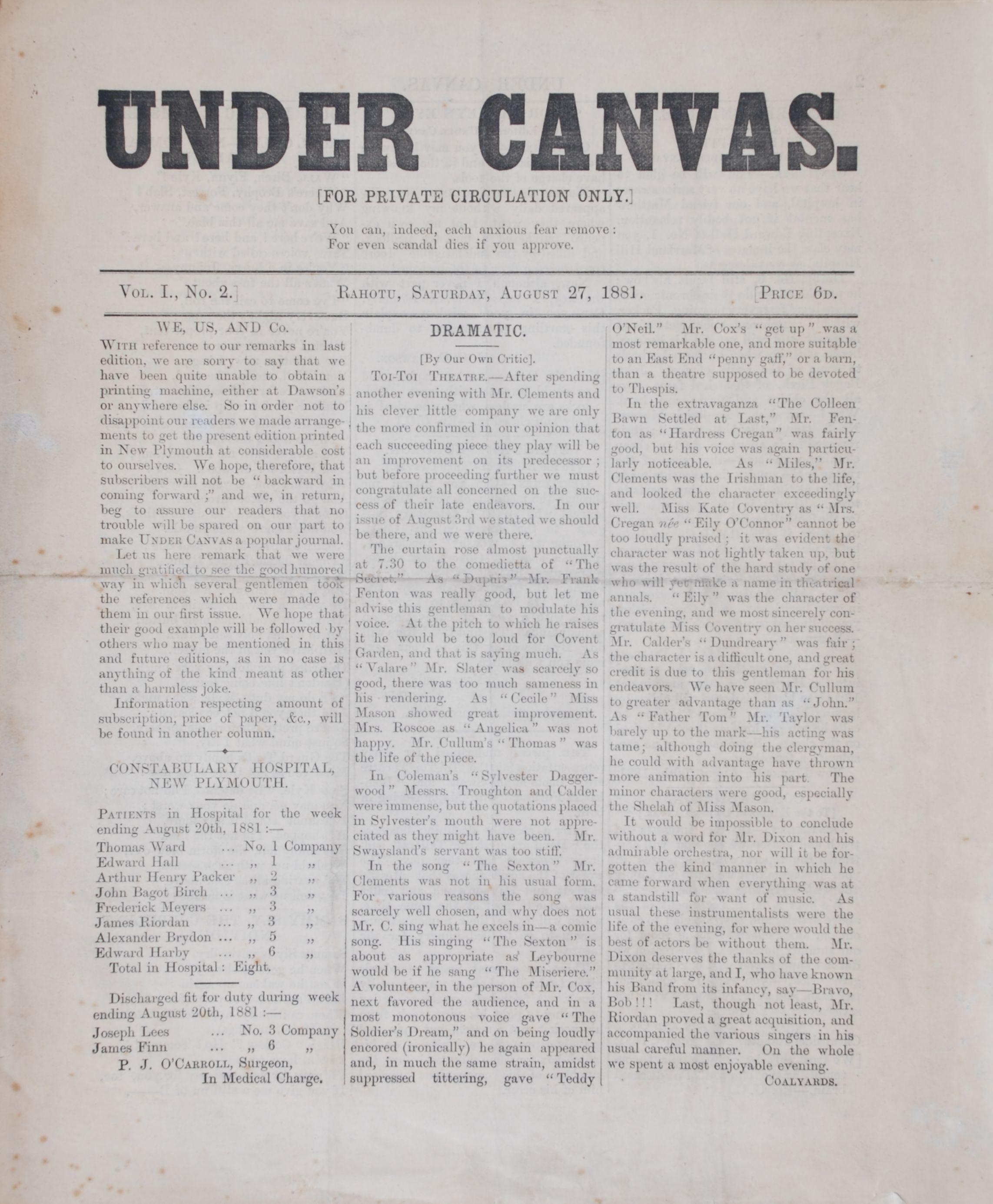 Under Canvas. Vol.1 No.2. 27 August 1881. Rahotu:  Edmondson and Avery for Taranaki News Office, 24 September 1881.