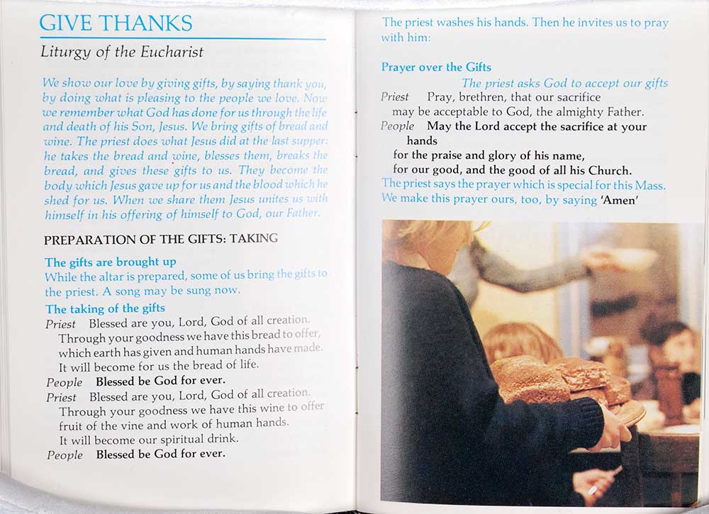 <em>Young people's Mass book: the complete Order of Mass together with the three Eucharistic prayers for children.</em> Australian edition. Sydney: Collins Liturgical Australia, 1983.