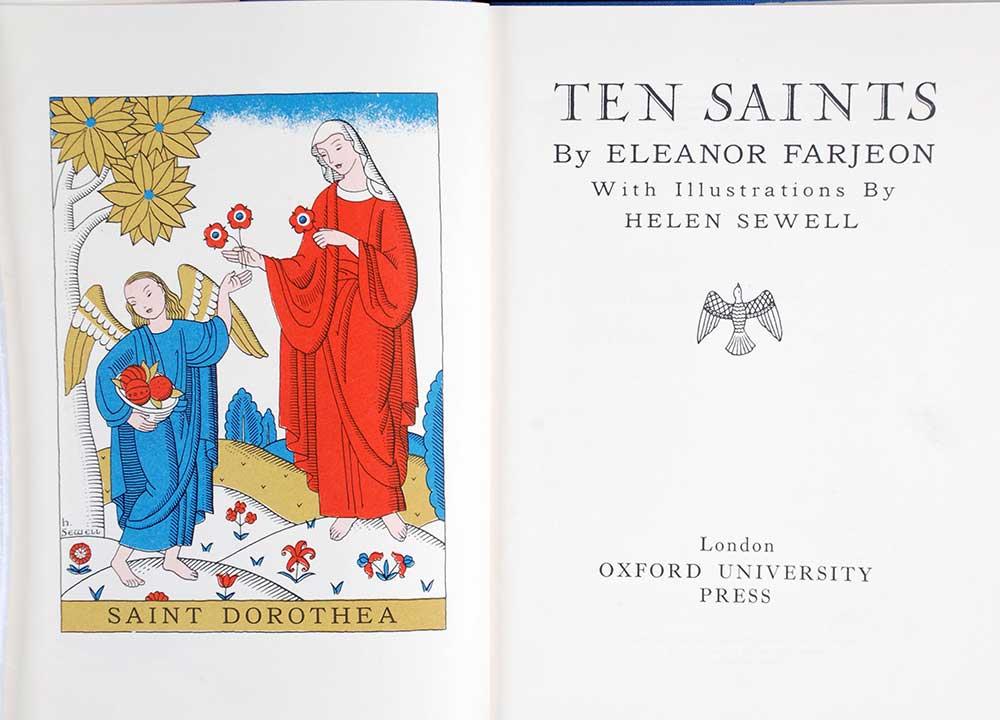 Eleanor Farjeon. <em>Ten saints.</em> Illustrated by Helen Sewell. London: Oxford University Press, 1953.