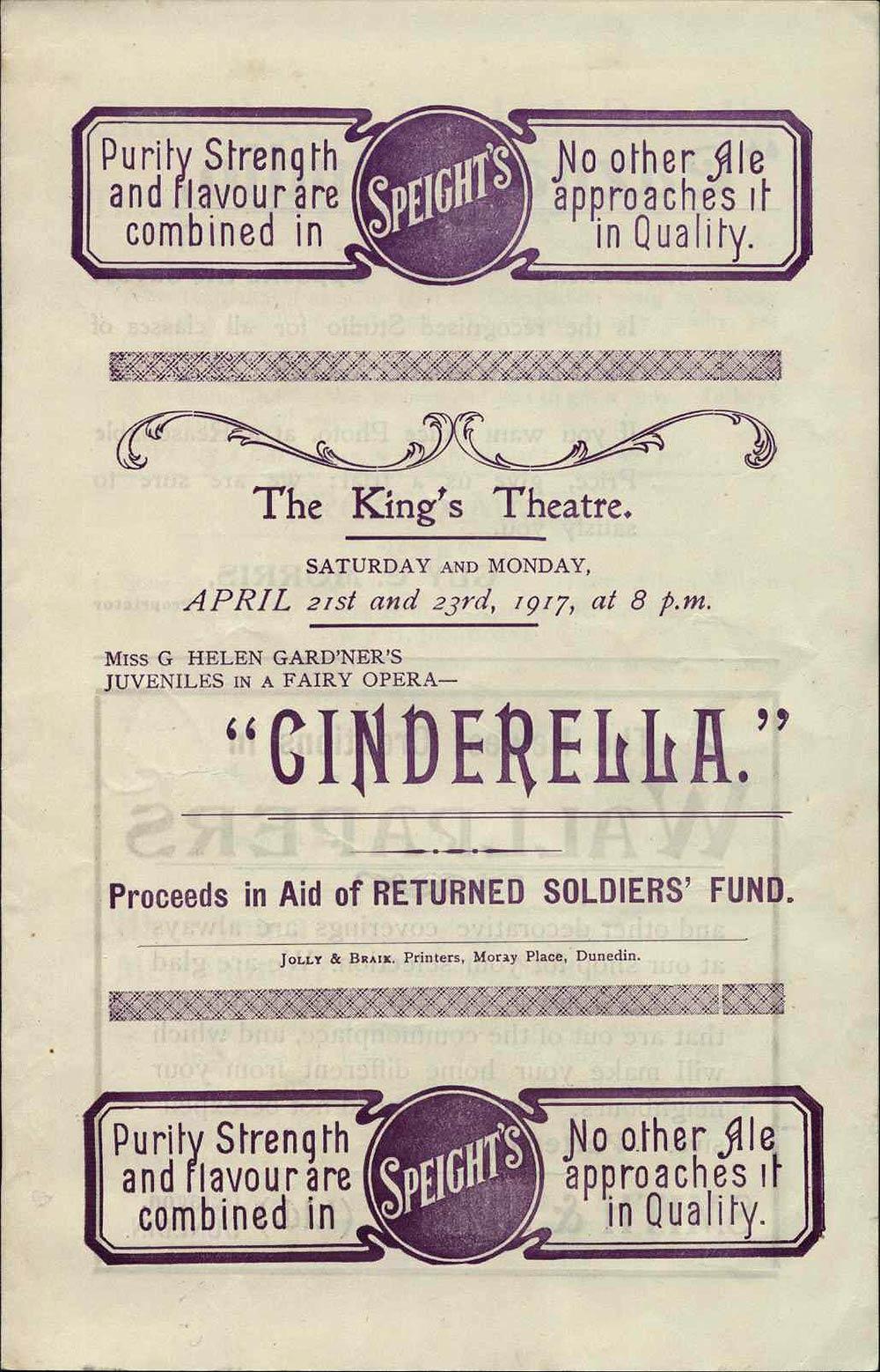 <em>Cinderella</em>. (Miss G. Helen Gardner's juveniles). King's Theatre, Dunedin, Apr. 21-23, 1917.