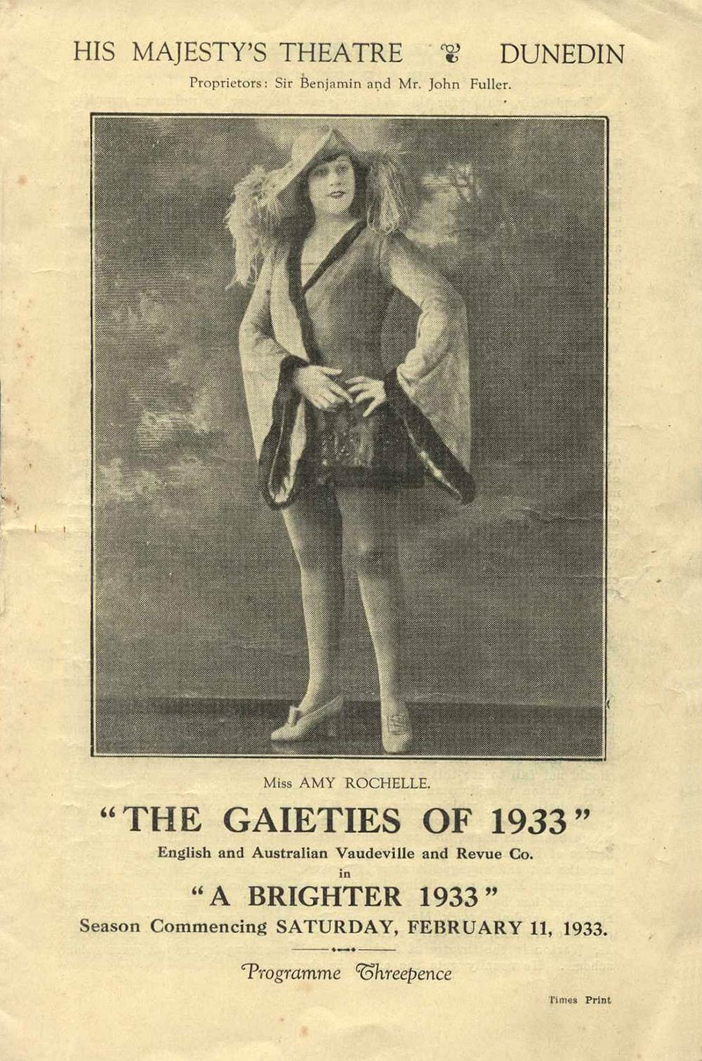 <em>A brighter 1933: The Gaieties of 1933: English and Australian Vaudeville and Revue Co</em>. His Majesty's Theatre, Dunedin, Feb. 11, 1933.