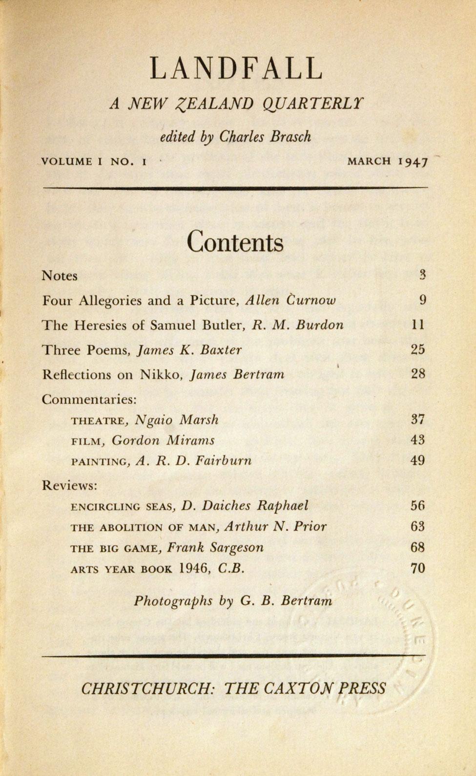 Charles Brasch (ed.). Landfall: A New Zealand Quarterly, Vol. 1 No. 1. <i>Christchurch: The Caxton Press, March 1947.</i>