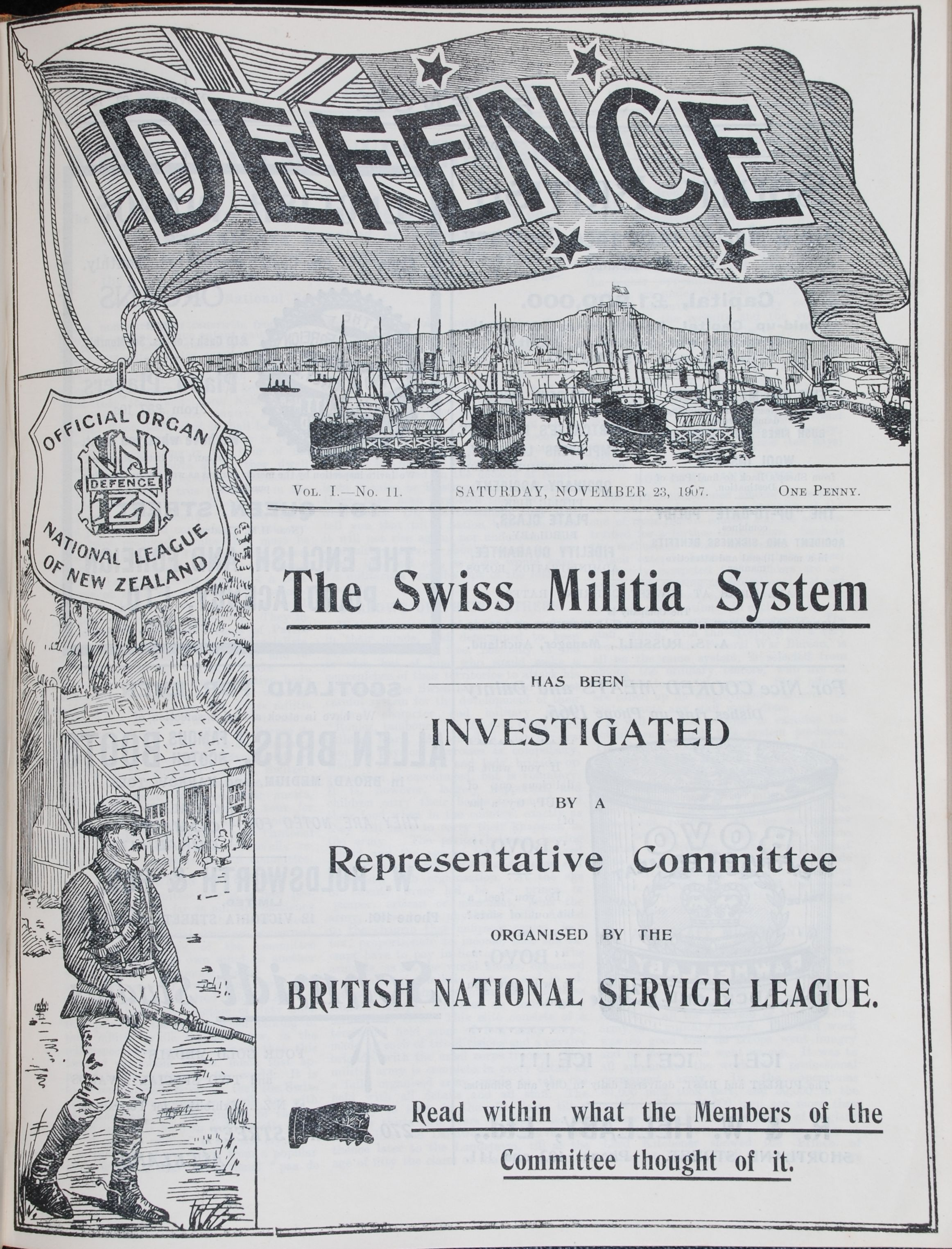 Defence (National League of New Zealand). Vol.1-3 1906-1910.   Auckland: Robert Mundie Hacket, 1906-1910.