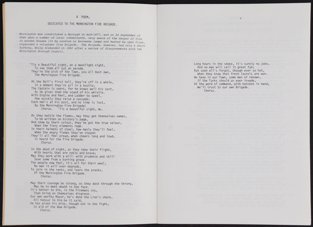 A poem dedicated to the Mornington Fire Brigade, in: R.P. Hargreaves [ed.].. <em>The poetical works of George Scott, the Mornington bard.</em> Dunedin: Hocken Library, 1982.