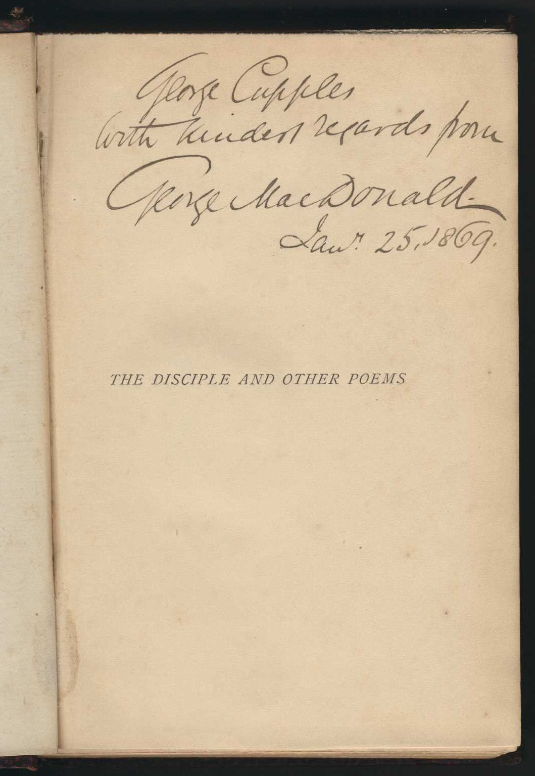 George MacDonald. The disciple and other poems. London: Strahan, 1868.