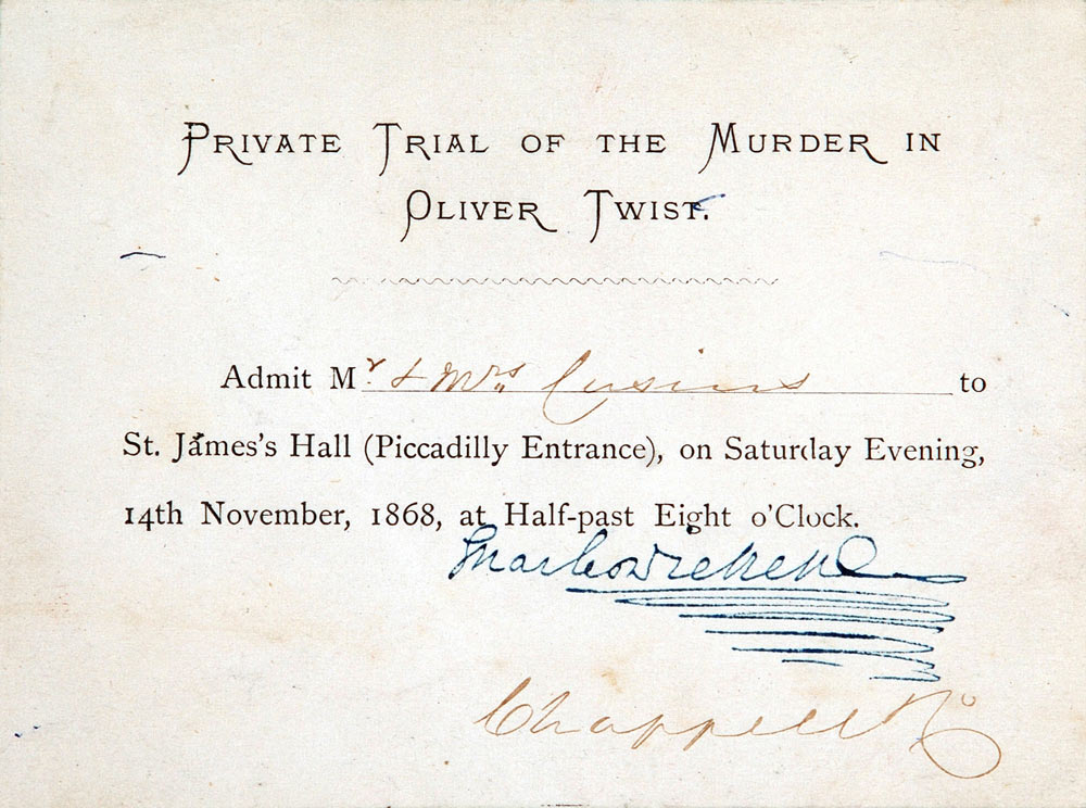 Invitation. 'Private Trial of the Murder in Oliver Twist', presented to Mr. and Mrs. William George Cusins, signed by Dickens, 14 November 1868