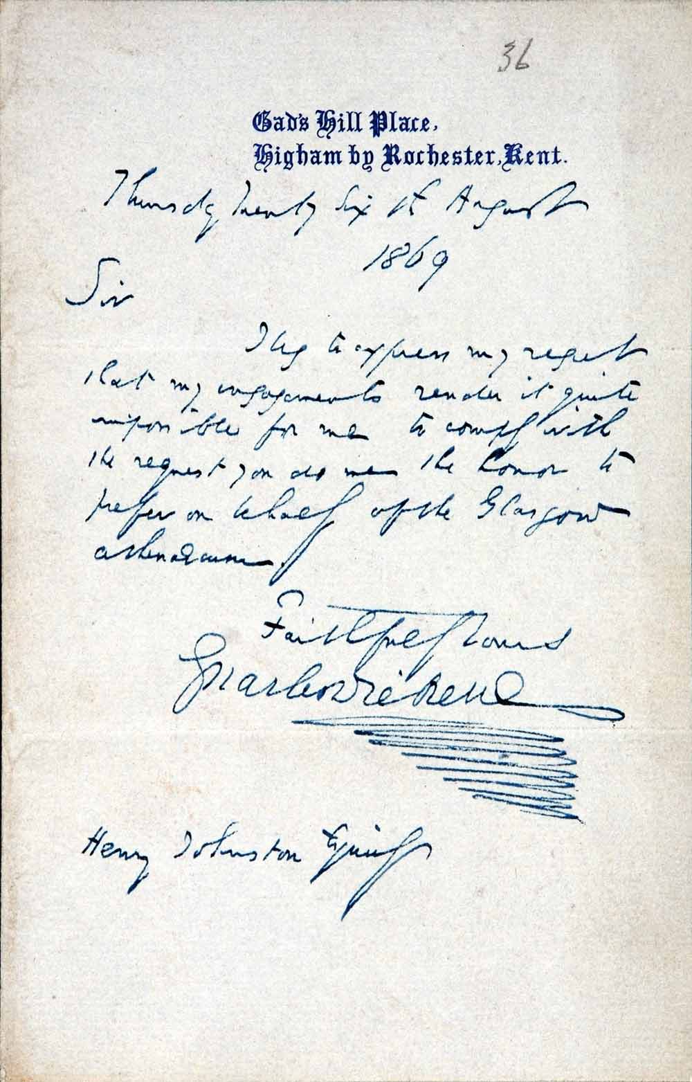 Letter. Charles Dickens to Henry Johnston, Gad's Hill Place, Higham by Rochester, Kent, 26 August 1869