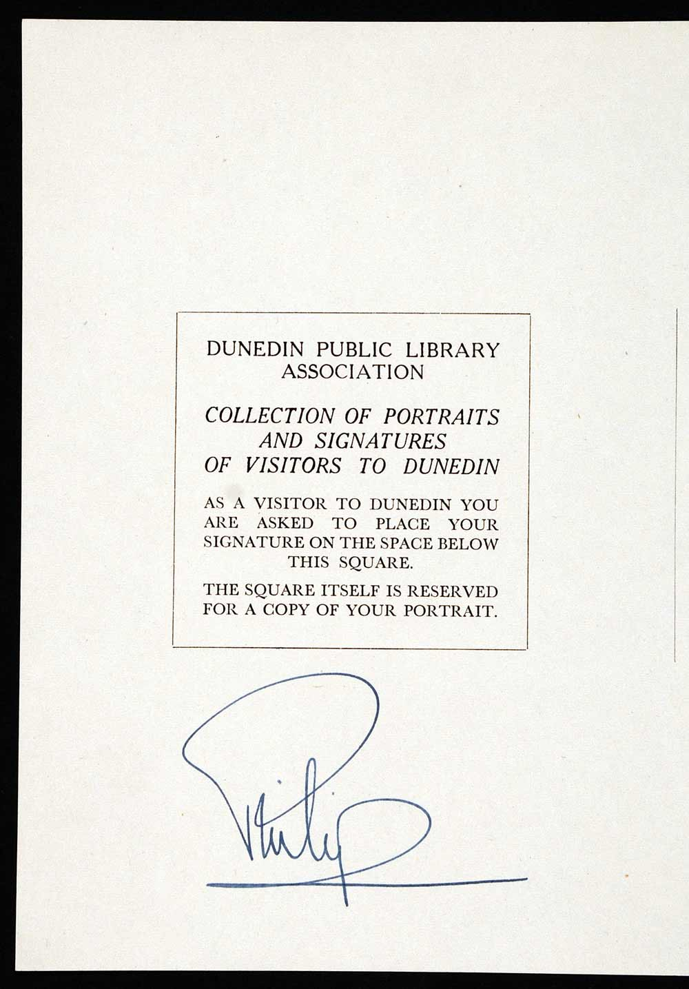 Page from the Dunedin Public Library visitor's book, signed by Prince Philip, Duke of Edinburgh, 26 January 1954.
