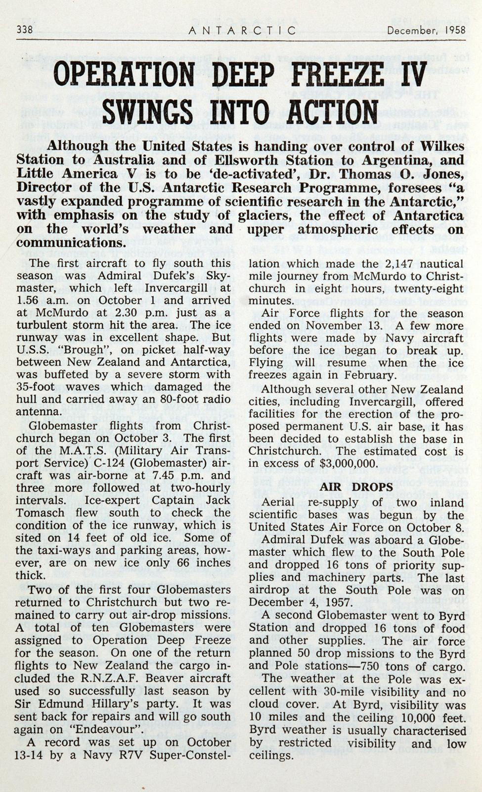 <i>Antarctic</i>. December, 1958. Wellington: New Zealand Antarctic Society, 1958