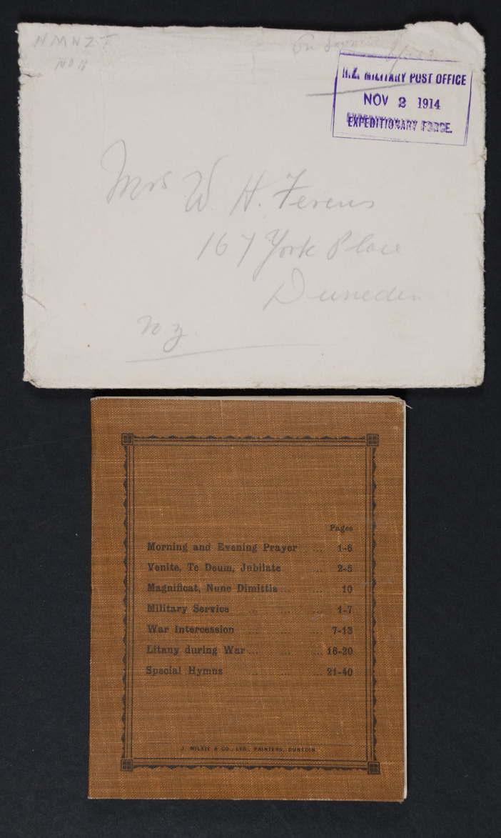 [Prayer Book and Order of Service]. Dunedin:  J Wilkie, [n.d.] & To Mrs W H Ferens from HMTS 11. Envelope. 2 November 1914