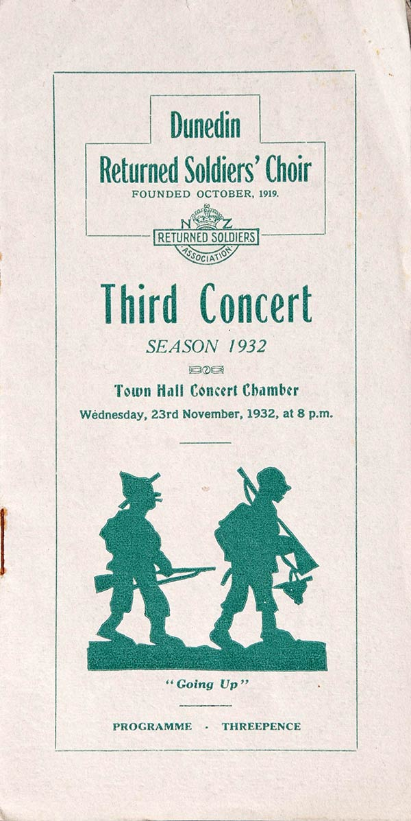 <em>Dunedin Returned Services Choir: third concert</em>. Town Hall Concert Chamber, Nov. 23, 1932.