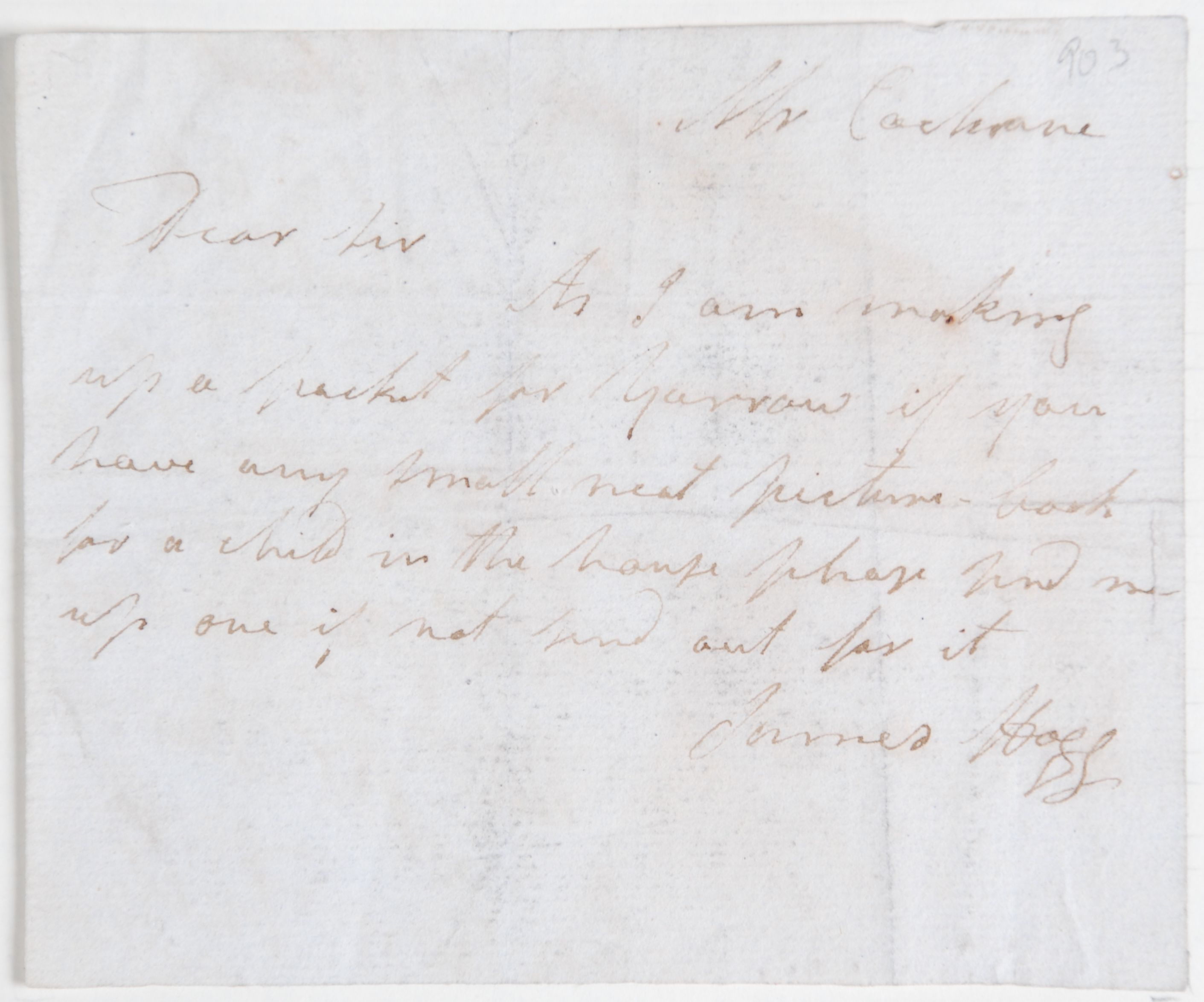 Reed Autograph Letters Album B2, no. 24: James Hogg.