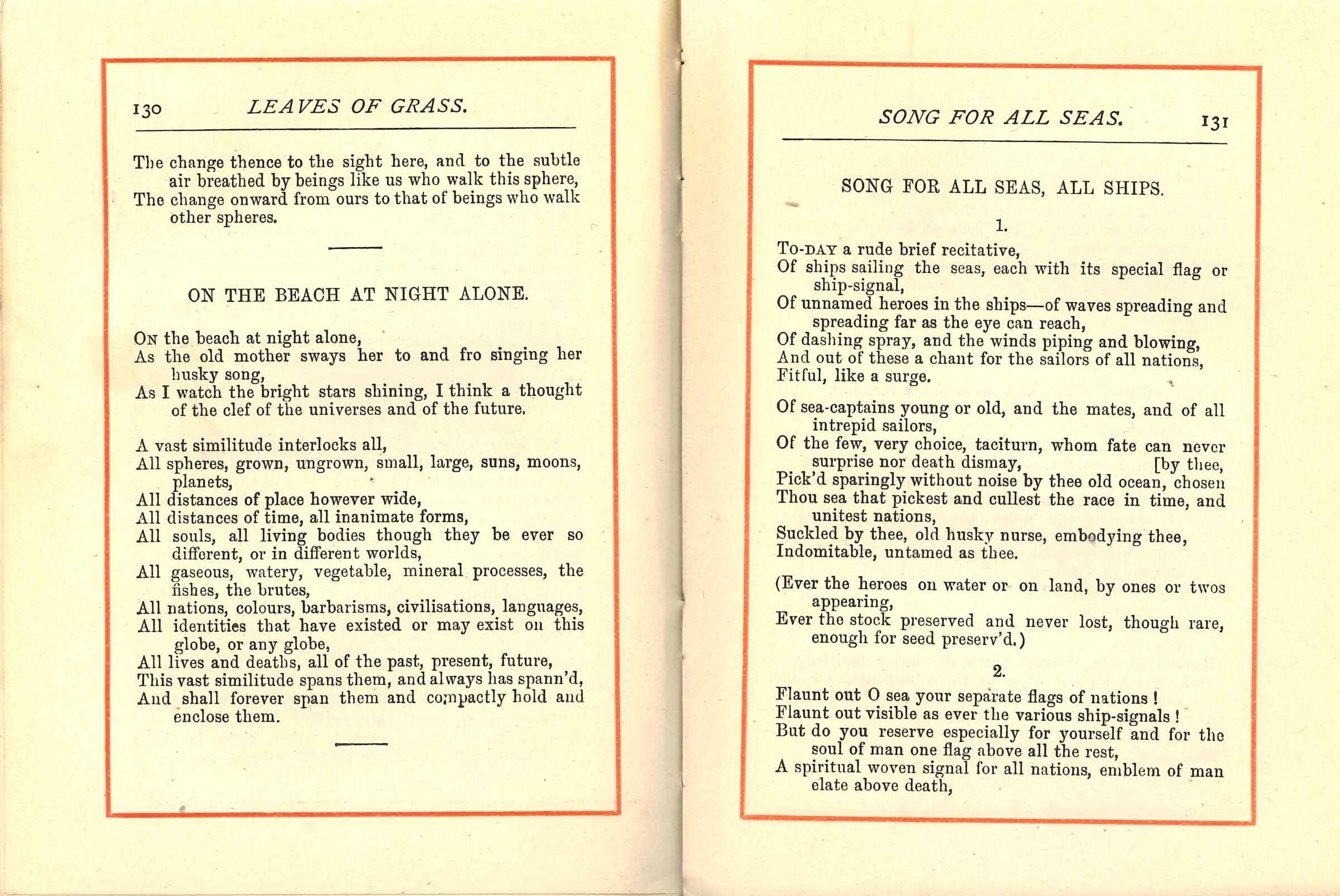 Walt Whitman. Leaves of Grass: The Poems of Walt Whitman. London; Newcastle: Walter Scott, 1886.